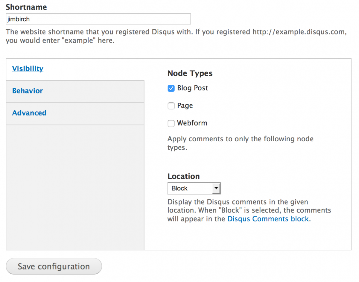 Disqus Drupal Configuration Screenshot