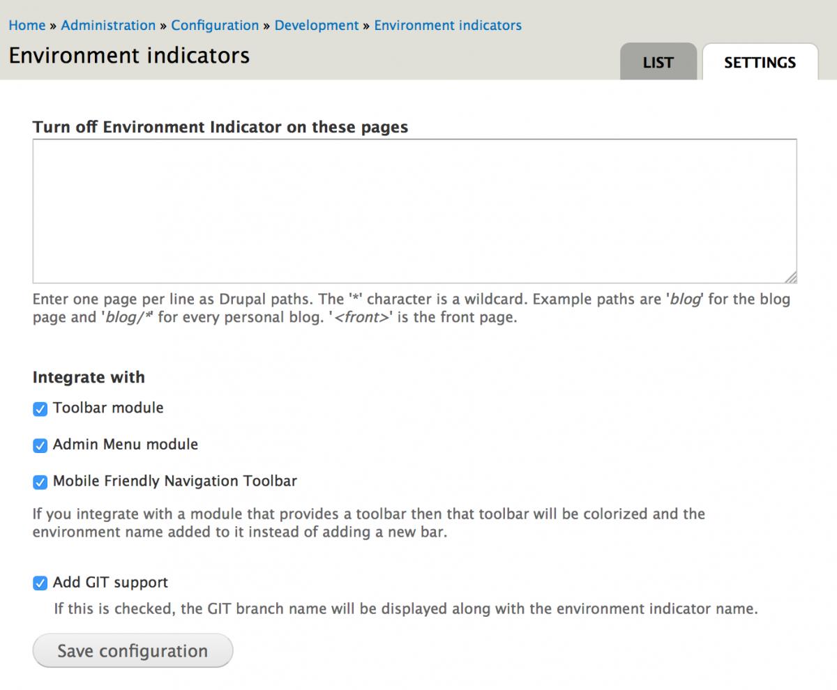 Environment Indicator Settings