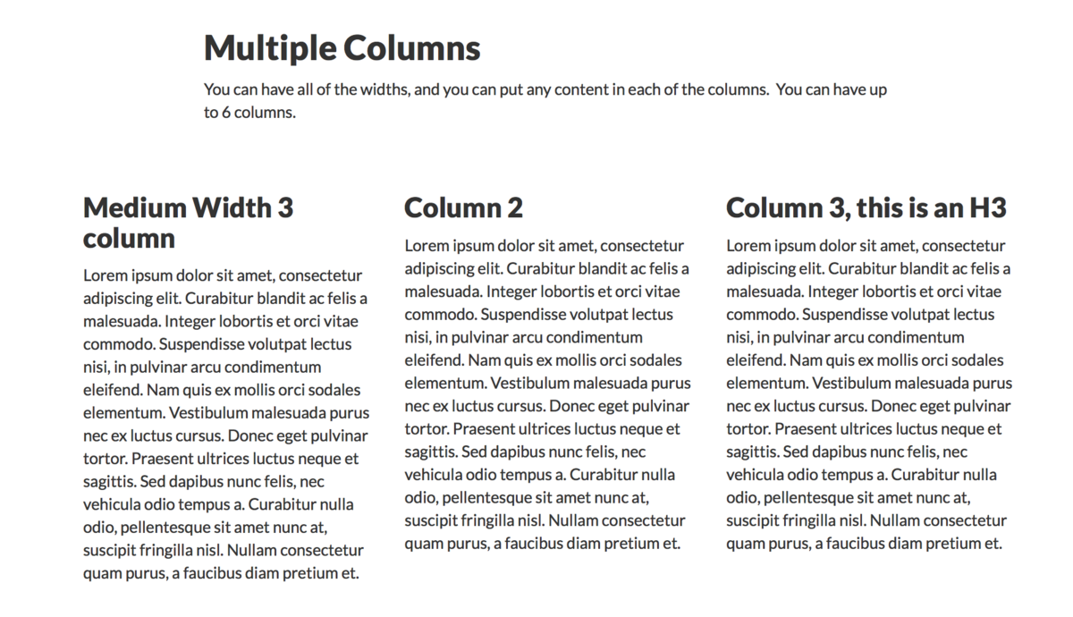 Example of multiple columns