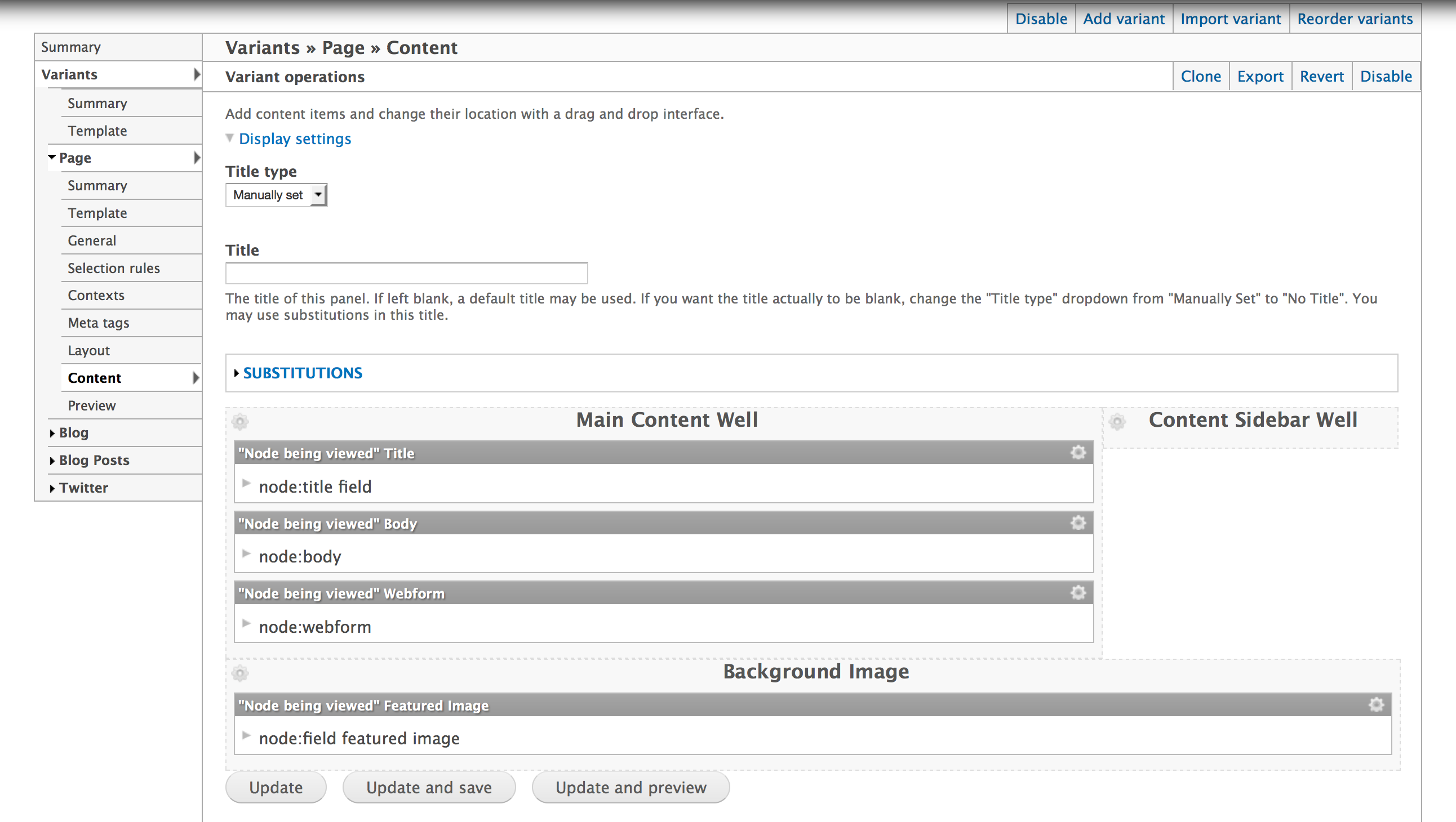 Choose content for this Page Manager Variant