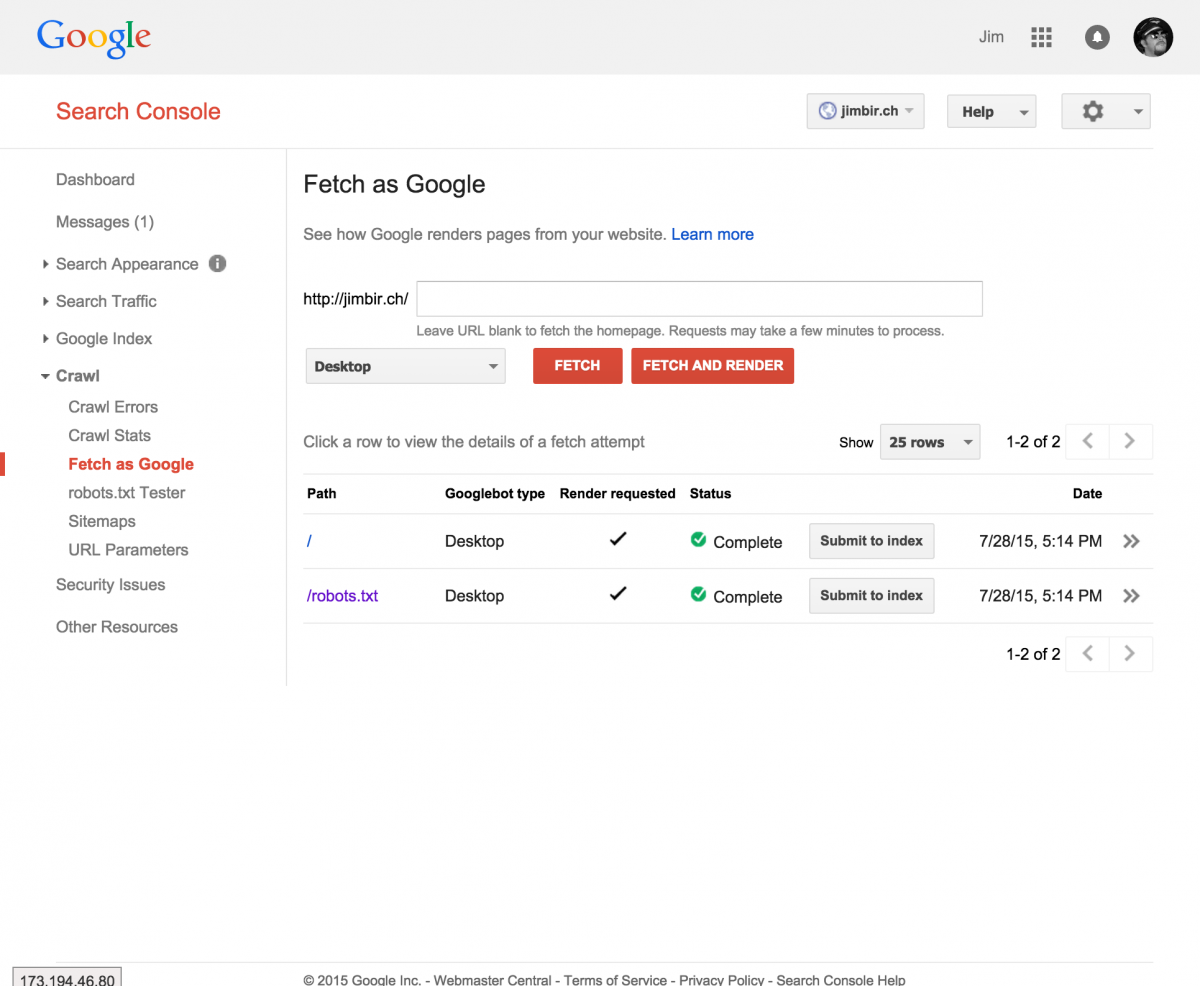 Google Search Console, Fetch as Google