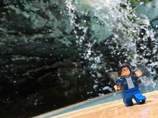 Lego Uncle Jim at the Pool Waterfall