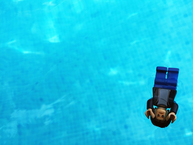Lego Uncle Jim in the Pool