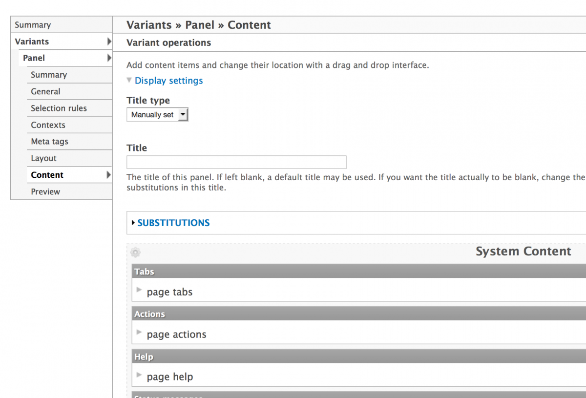 Page Manager Variant Add Content